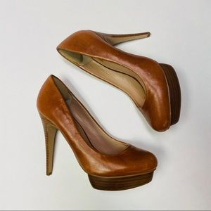 Dolce Vita | Tan Leather Pumps Wooden Heels Size 7
